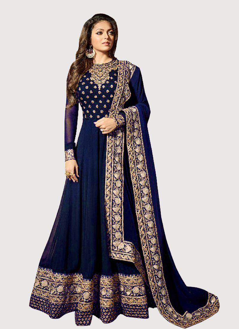 Buy Drashti Dhami Blue Georgette Bollywood Anarkali Dress Online from YOYO Fashion