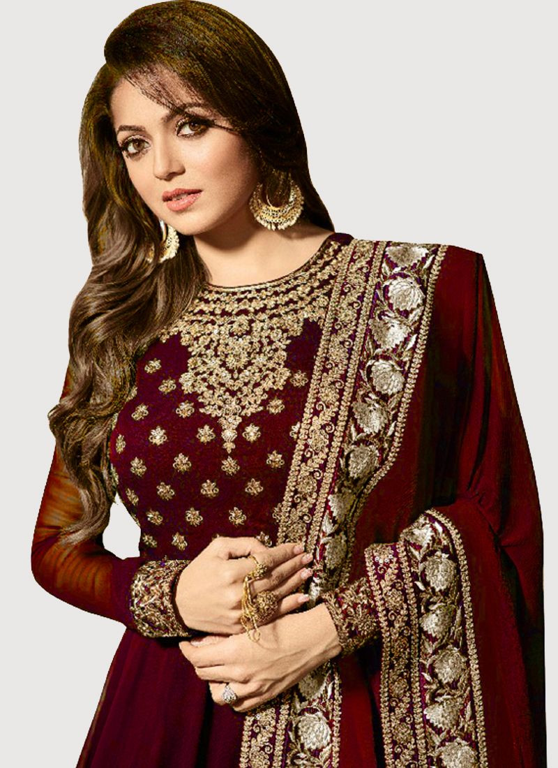 Drashti Dhami Maroon Bollywood Long Anarkali Dress