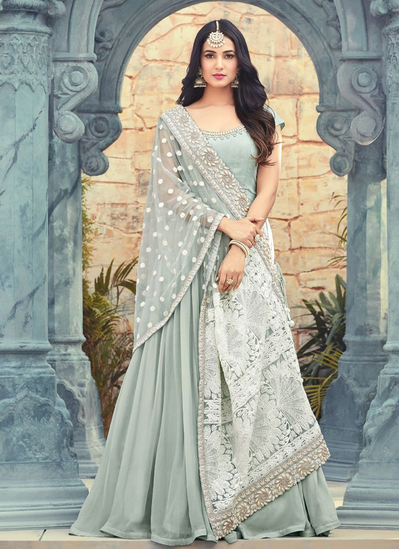 Buy Sonal Chauhan Designer Grey Bollywood Long Anarkali Gown Online from YOYO Fashion