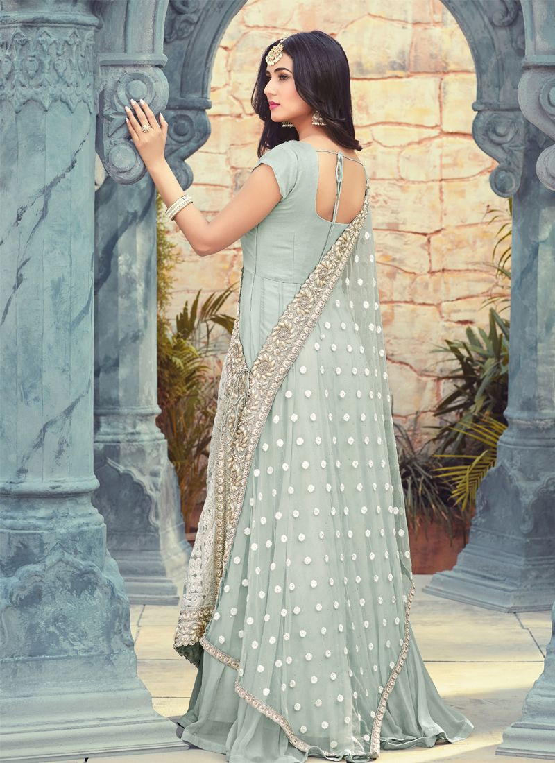Sonal Chauhan Designer Grey Bollywood Long Anarkali Gown