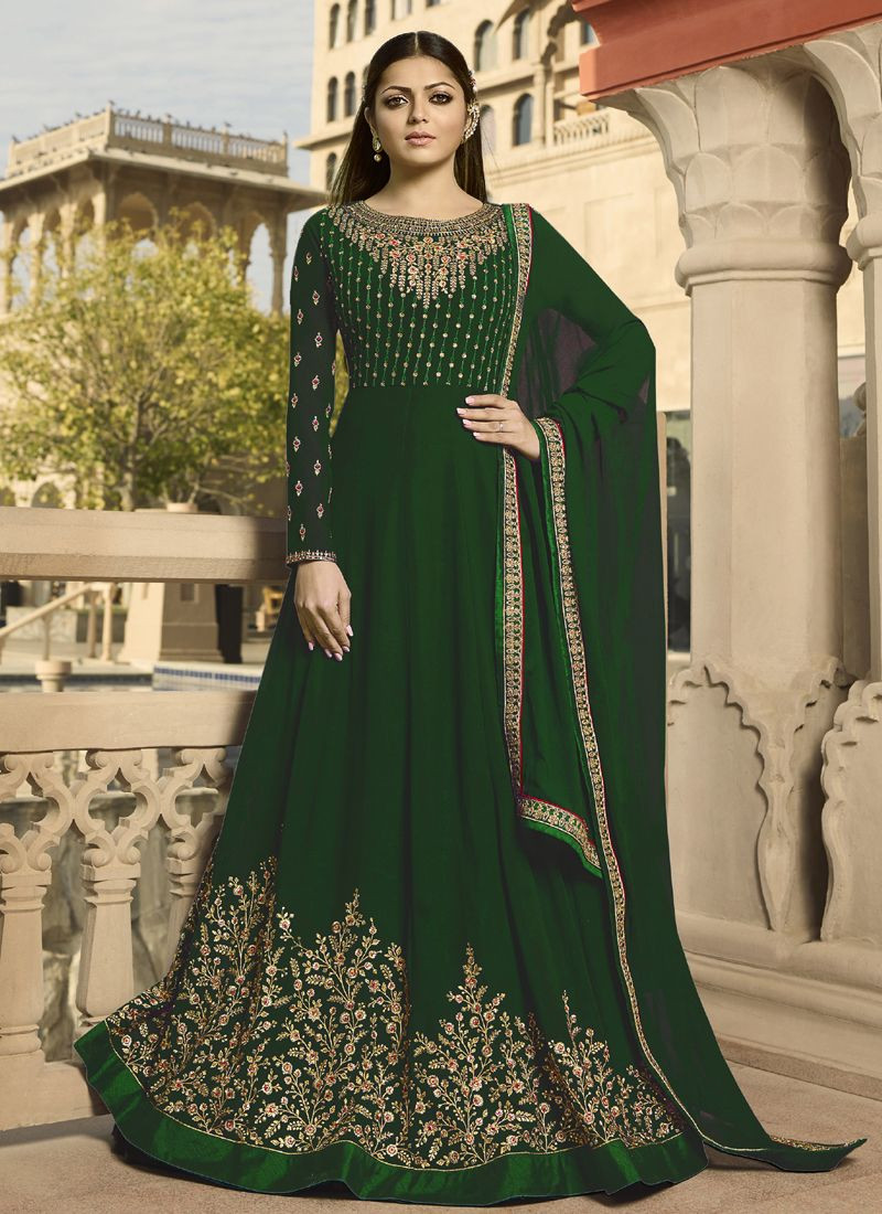 Buy Drashti Dhami Green Long Embroidered Bollywood Anarkali Salwar Suit Online from YOYO Fashion