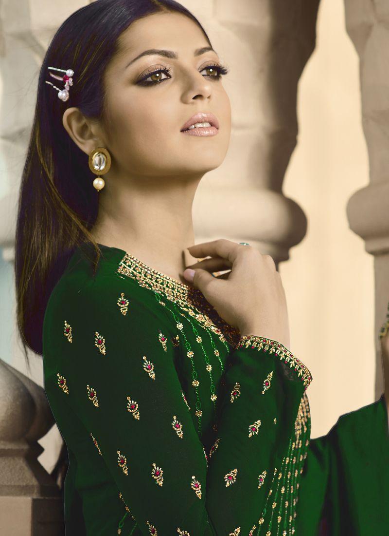 Drashti Dhami Green Long Embroidered Bollywood Anarkali Salwar Suit