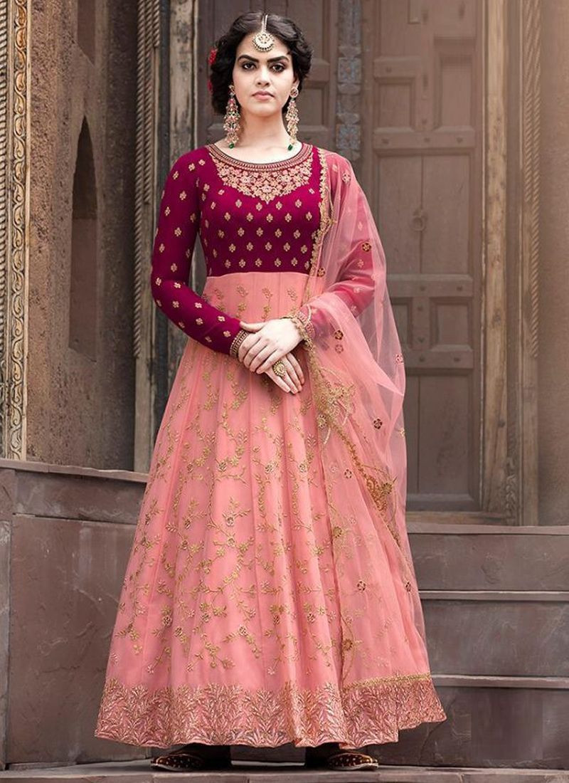 Designer Girls Peach Net Anarkali Dress for Eid 2020