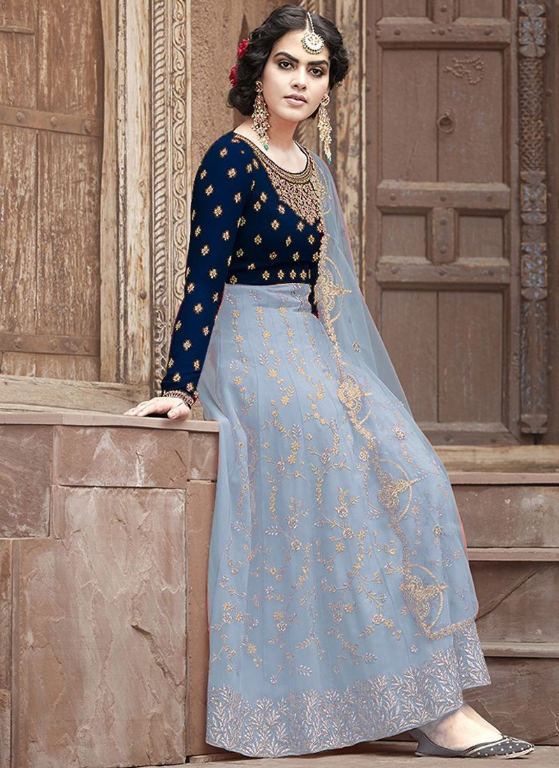 Designer Blue Net Anarkali Dress