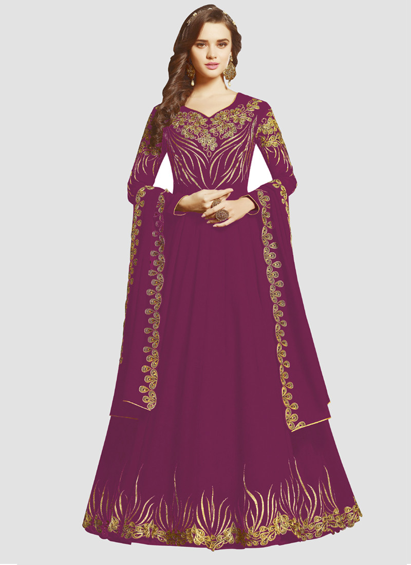 YOYO Fashion Eid Special Latest Designer Purple Anarkali Suit @ YOYO Fashion.