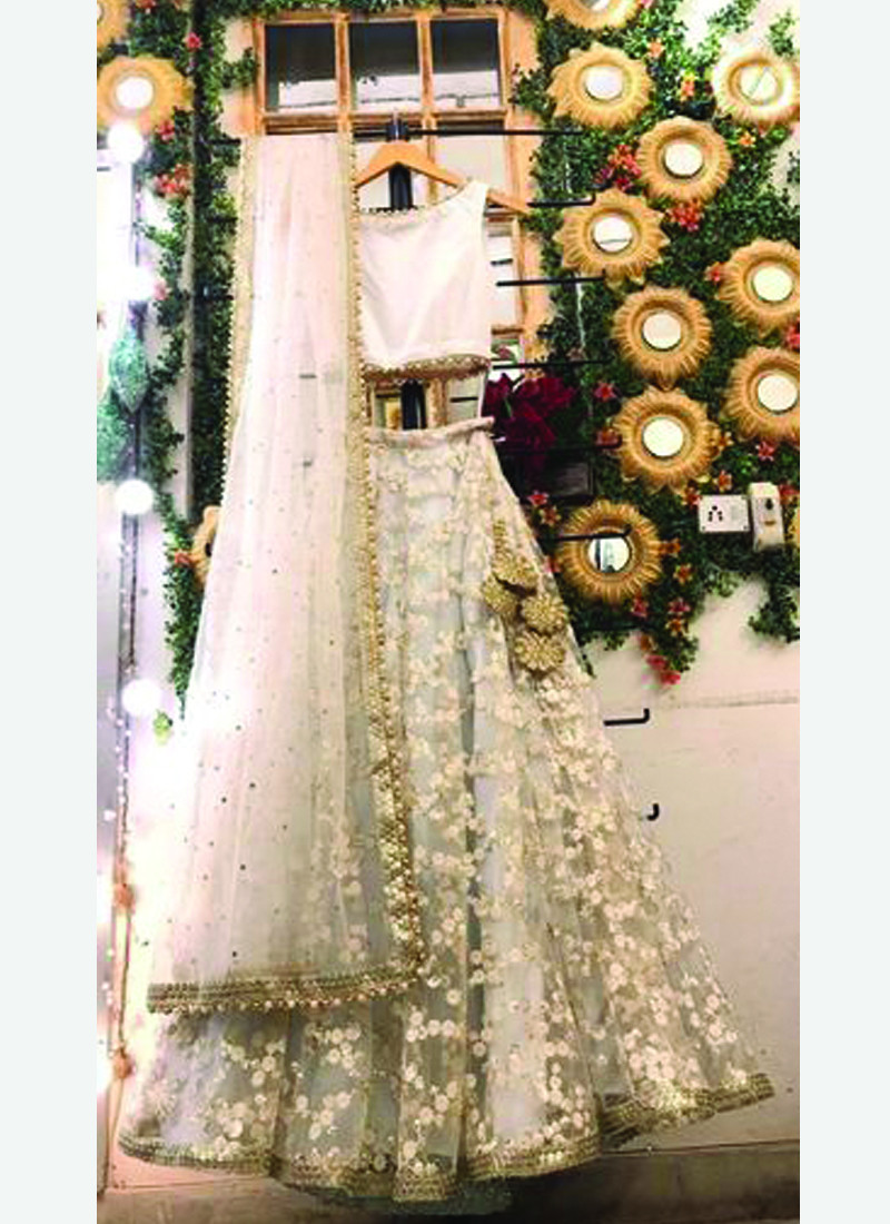 Fancy Off White Lehenga Suit Design for Girls