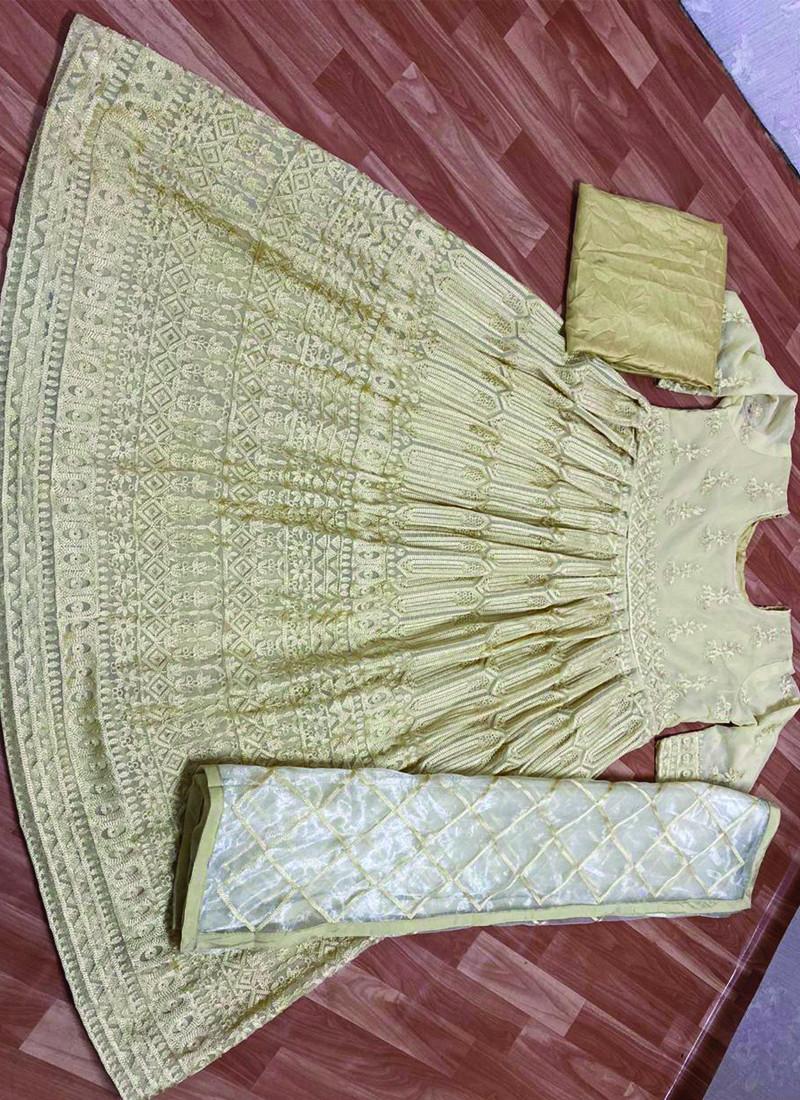 Bhumi Pednekar Cream Georgette Bollywood Anarkali Suit