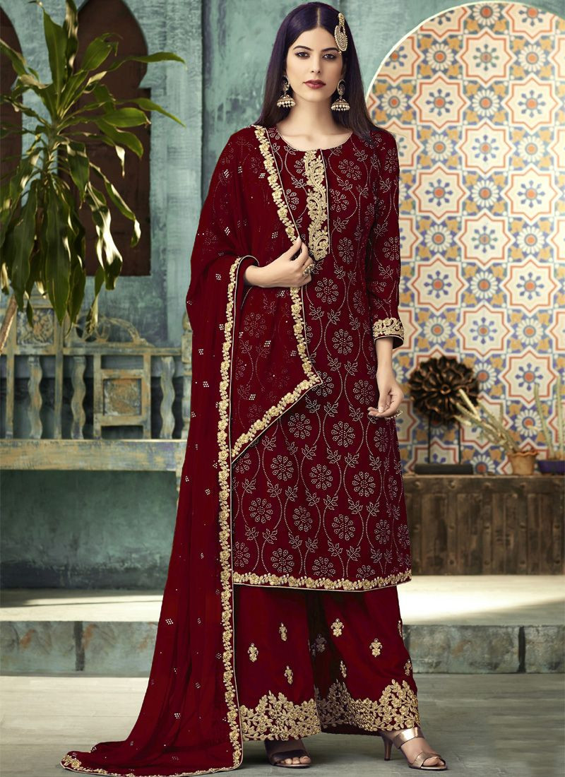 Latest Maroon Georgette Designer Plazo Suit