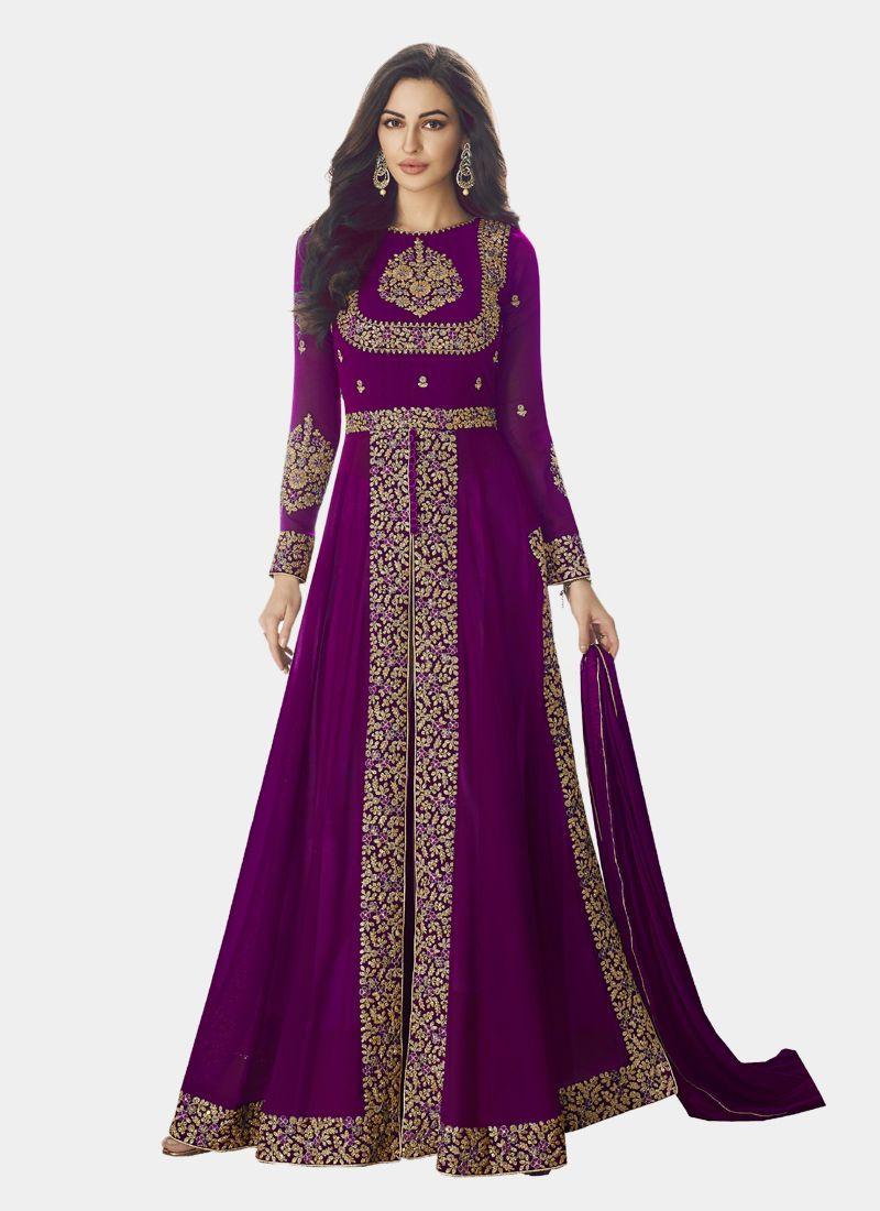 Latest Purple Front Slit Anarkali Suit Design 2020