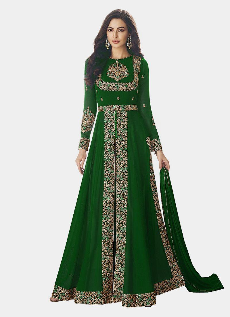 Latest Pakistani Green Front Slit Anarkali Gown