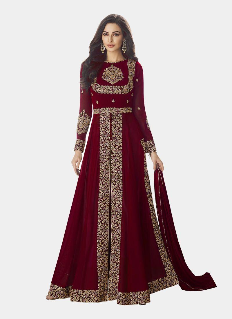 Indian Bridal Maroon Wedding Anarkali Suit 2020
