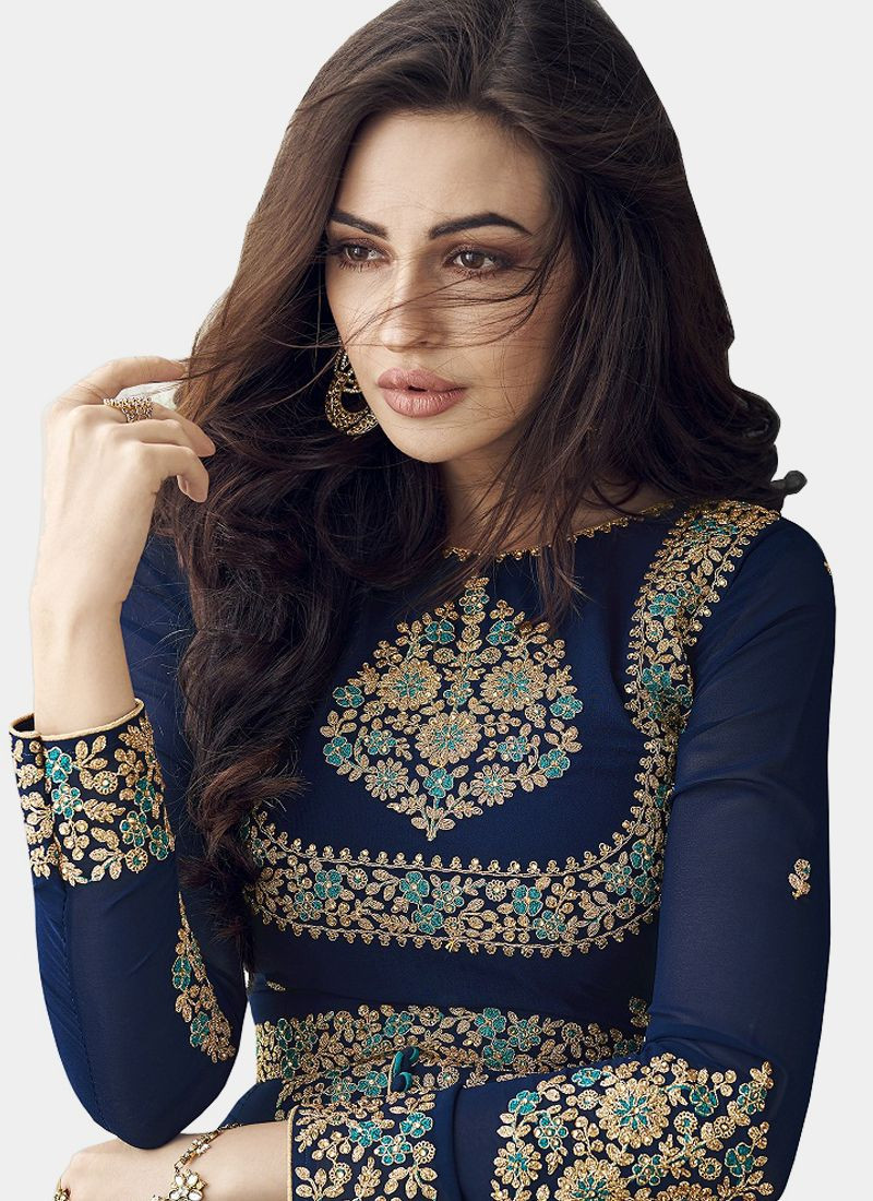 Purchase Girls Designer Pakistani Navy Blue Anarkali Suit Online for Women @ YOYO Fashion