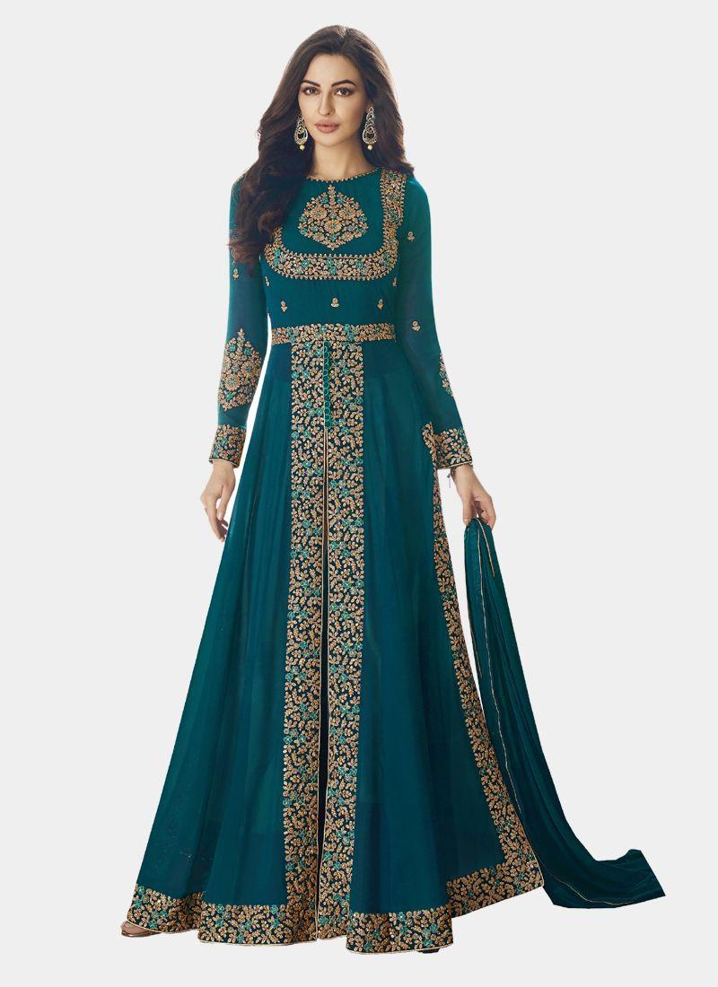 Partywear Turquoise Front Slit Anarkali Dress