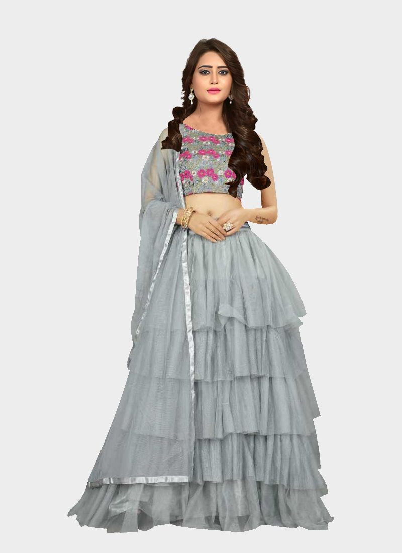 Purchase Partywear Grey Net Girls Crop Top Lehenga Choli  Online for Women @ YOYO Fashion