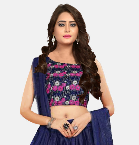 Purchase Blue Crop Top Net Lehenga Choli for Girls Online @ YOYO Fashion