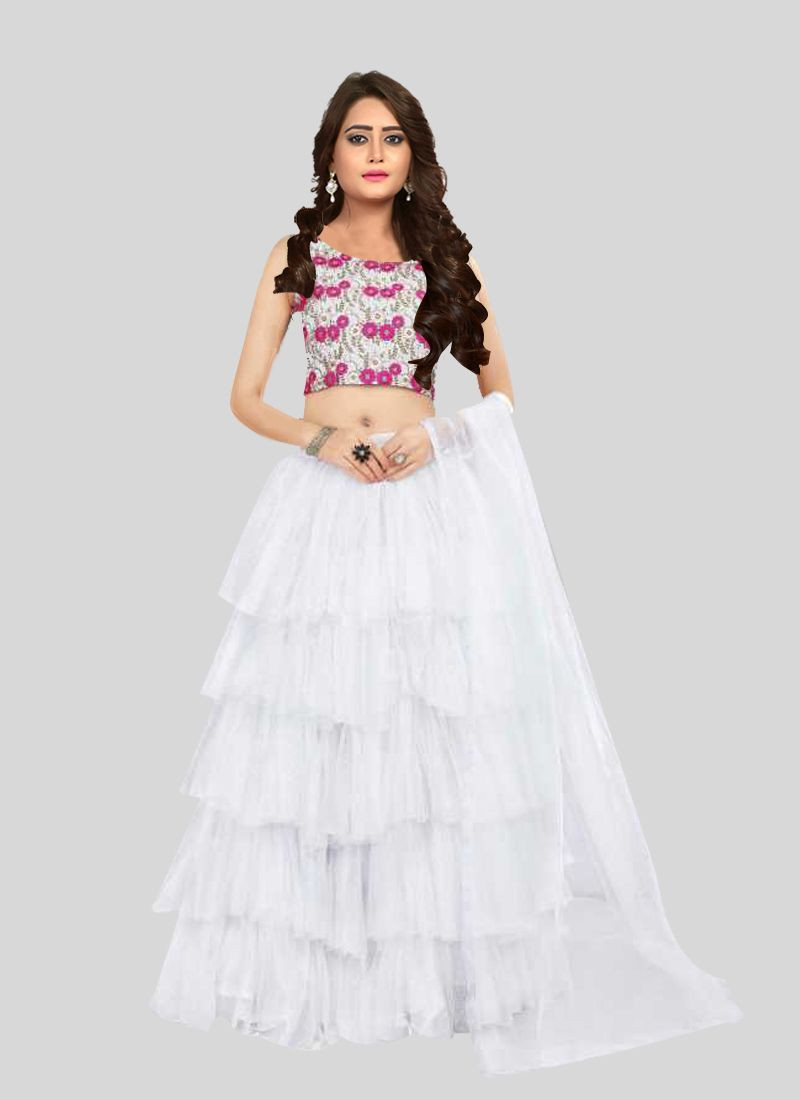 Purchase Designer White Frill Ruffle Lehenga Choli for Wedding Online for Women @ YOYO Fashion
