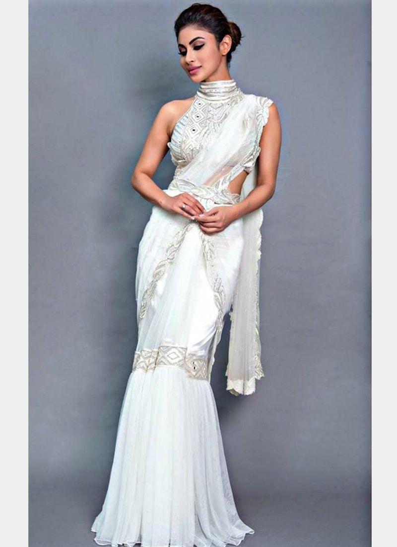 Purchase Mouni Roy Bollywood Designer Partywear White Net Saree  Online