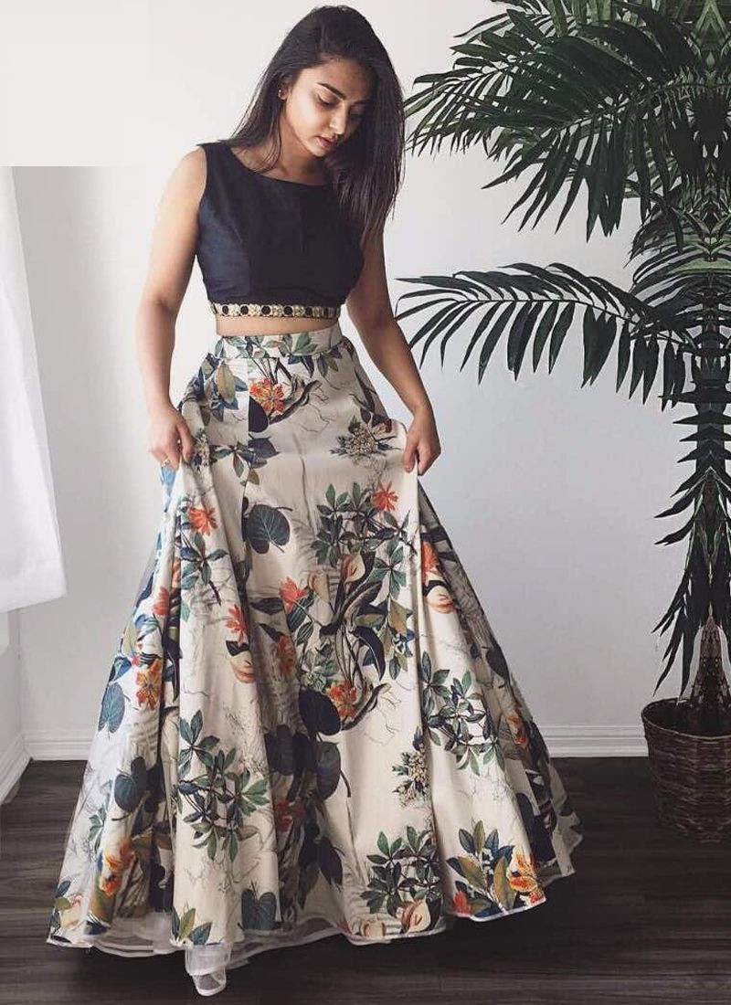 Purchase Off White Lehenga Skirt with Black Crop Top for Wedding Online