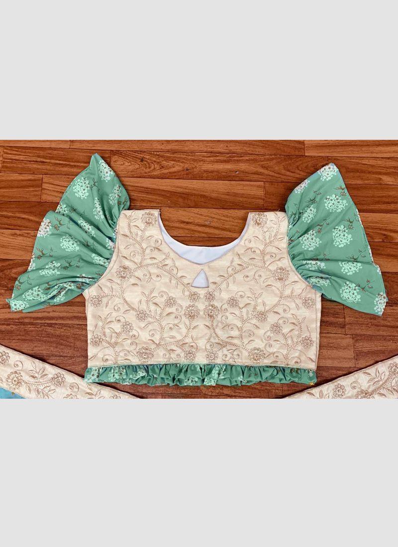 Girls Designer Light Green Crop Top Lehenga Design 2020
