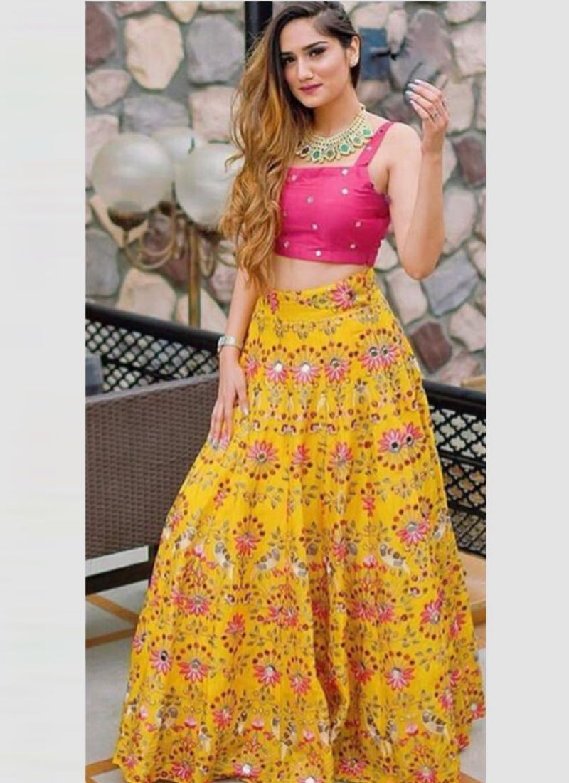 Girls Yellow Lehenga Design with Embroidered Blouse