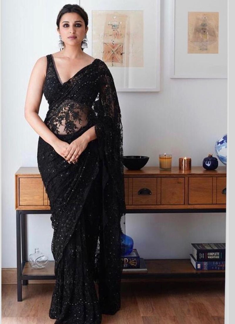 Purchase Parineeti Chopra Bollywood Style Partywear Black Saree Online