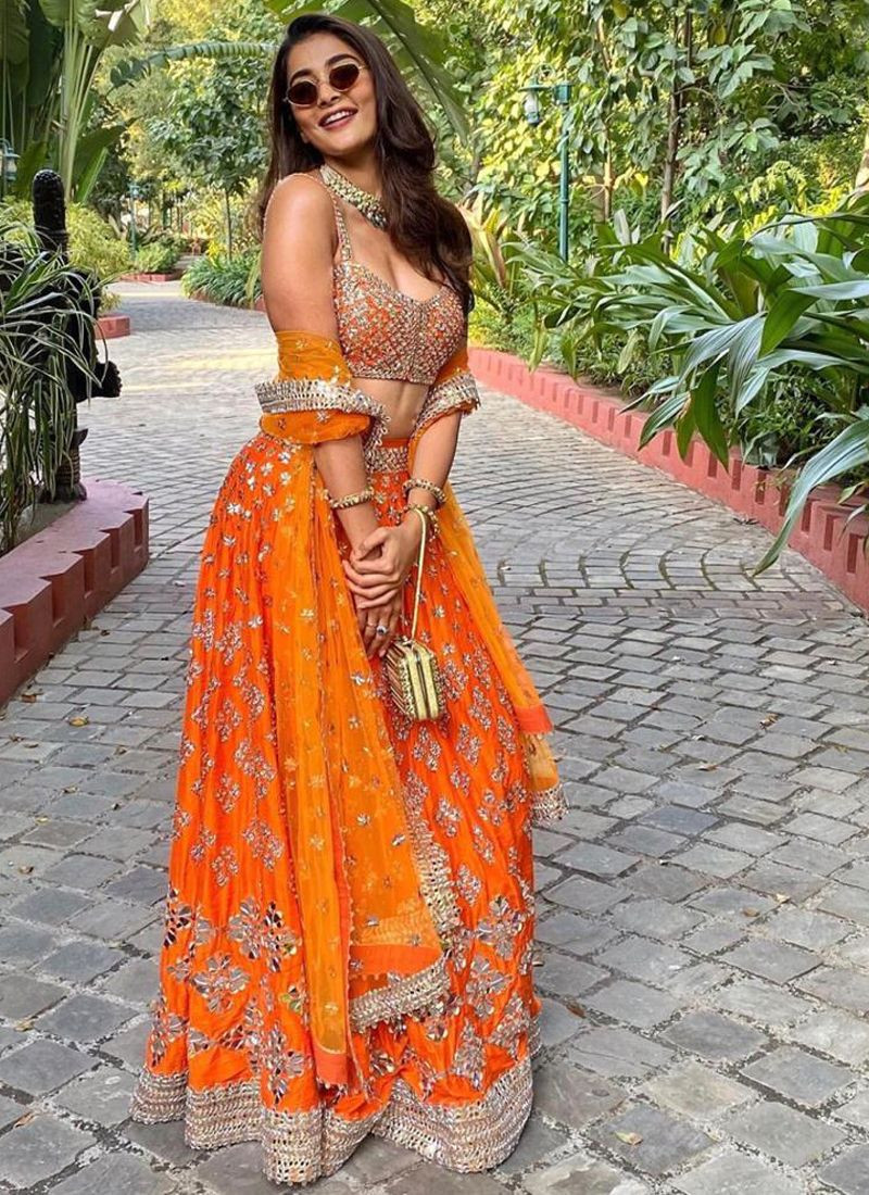 Pooja Hegde Bollywood Designer Orange Wedding Lehenga Choli