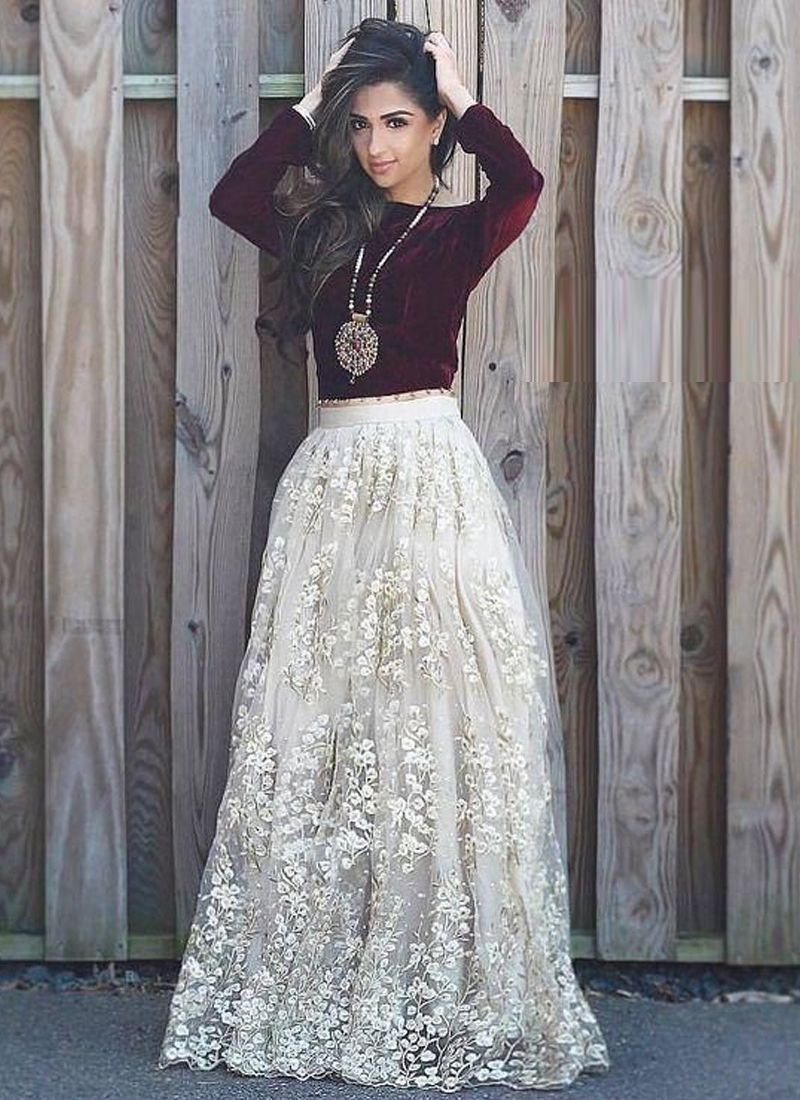 White Lehenga Skirt With Maroon Velvet Crop Top