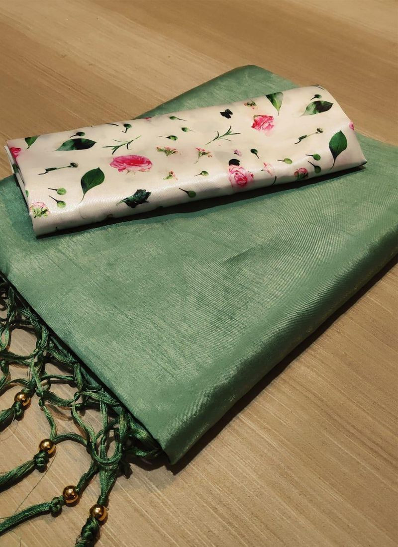 Plain Green Silk Saree with Floral Printed Designer Blouse
