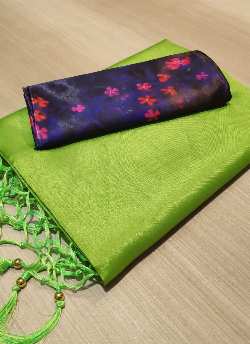 Purchase Fancy Plain Green Silk Saree with Digital Printed Blouse Online