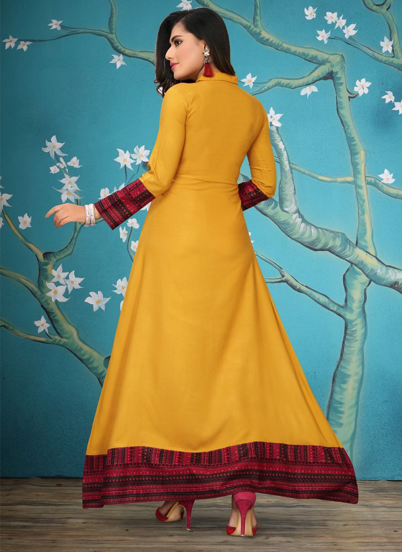Indian Yellow Party Wear Long Kurti For Women