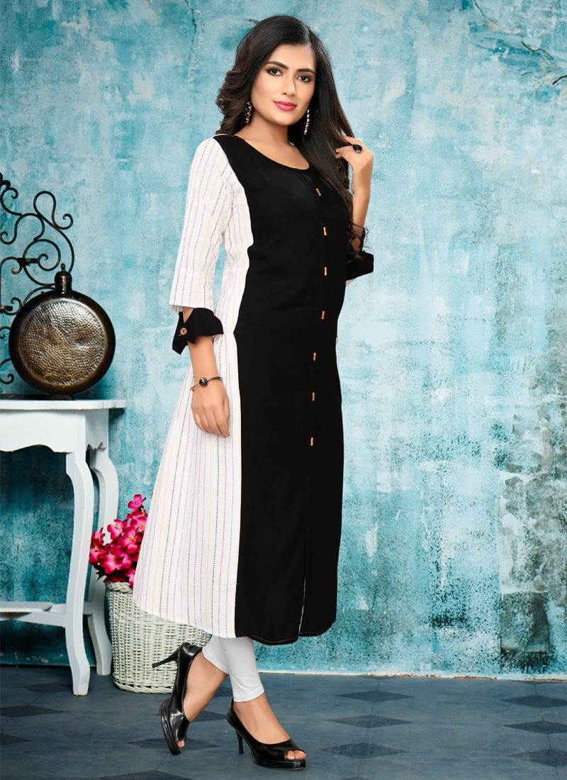 Latest Simple Black and White Daily Wear Long Kurti Top