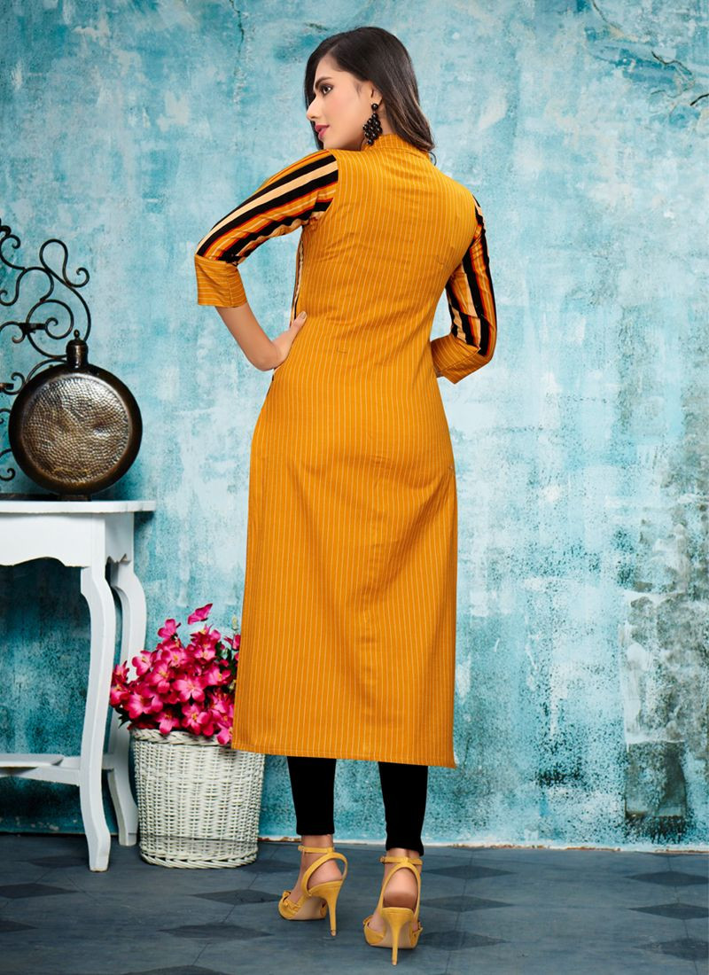 Yellow Rayon Office Wear Kurti Design For Ladies