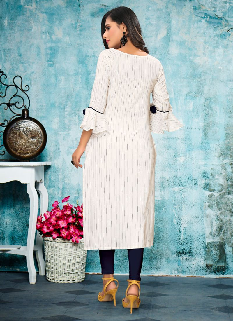 Beautiful White Cotton Embroidered Daily Wear Kurti Top For Ladies