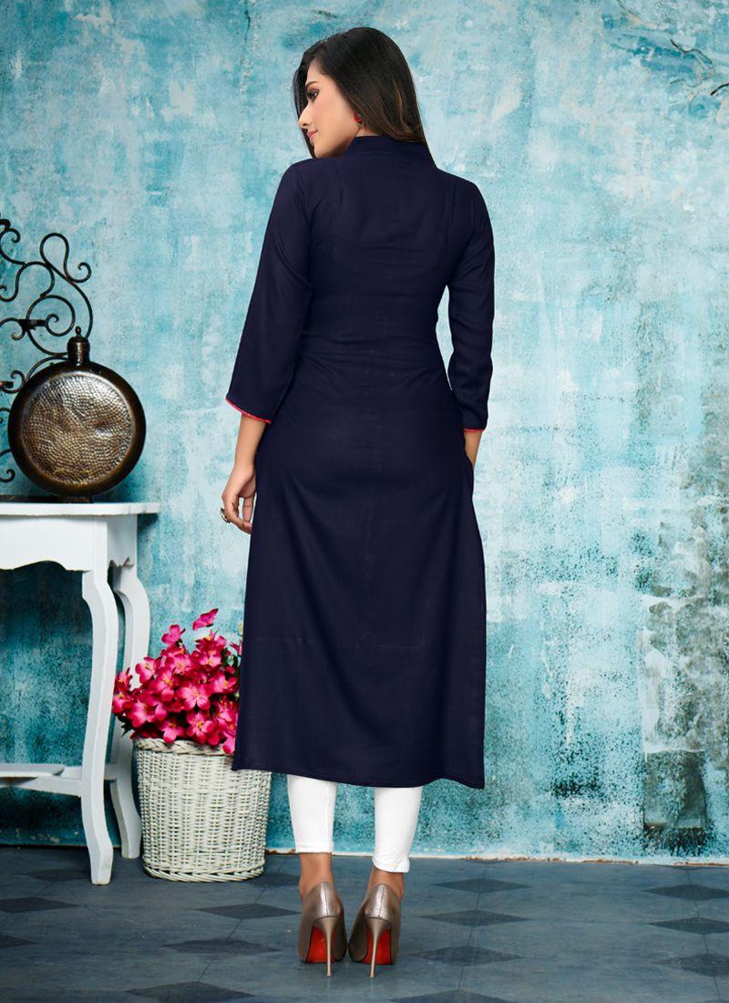 New Fashion Navy Blue Party Wear Long Kurti Design For Girls