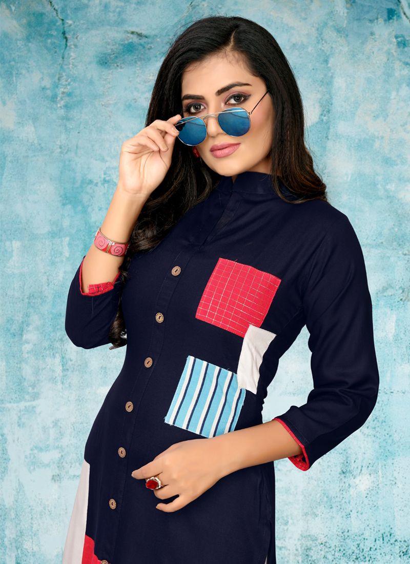 Navy Blue Party Wear Long Kurti Design For Girls