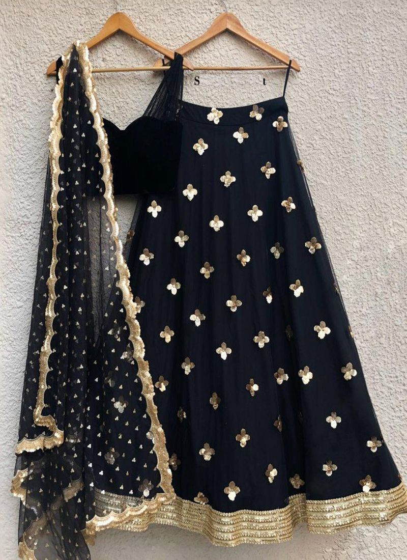 Fancy Embroidered Net Black Lehenga Choli For Girls