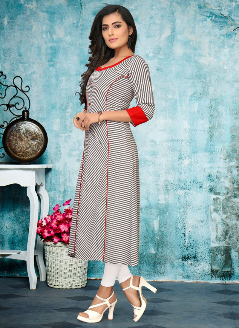 Latest Designer Grey Long Cotton Frock Kurti For Ladies