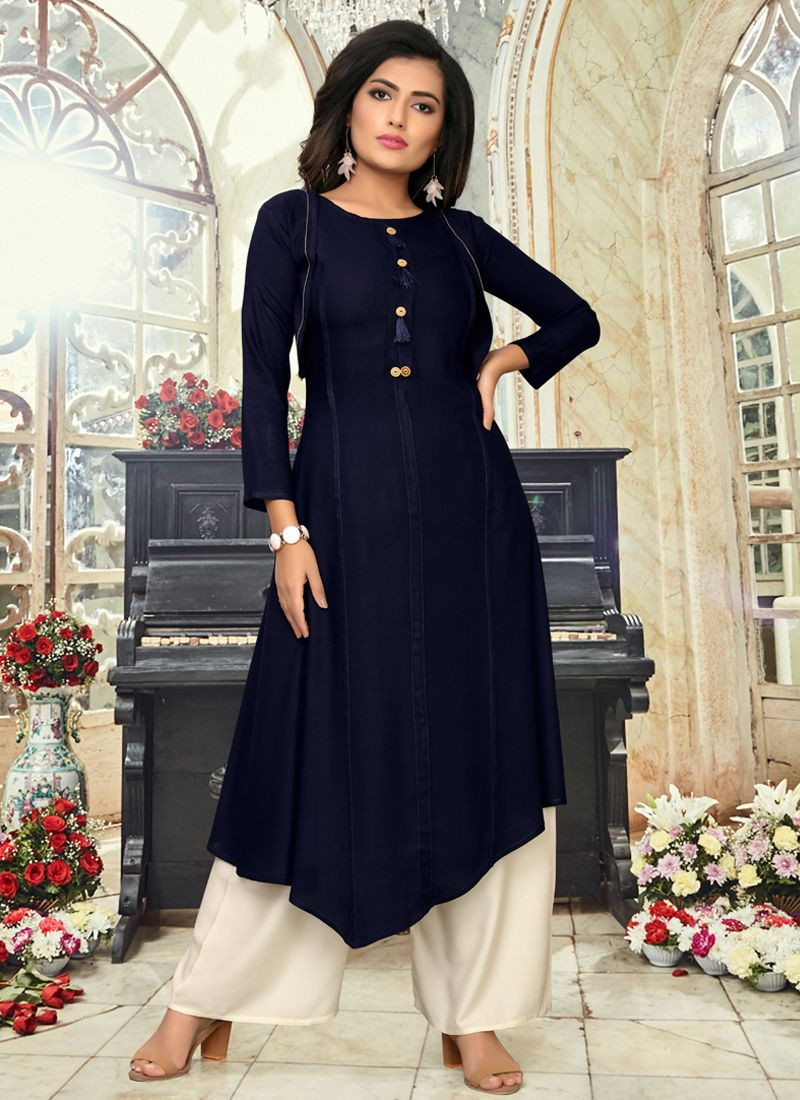 Purchase New Fashion Womens Navy Blue Party Wear Up Down Kurti Online