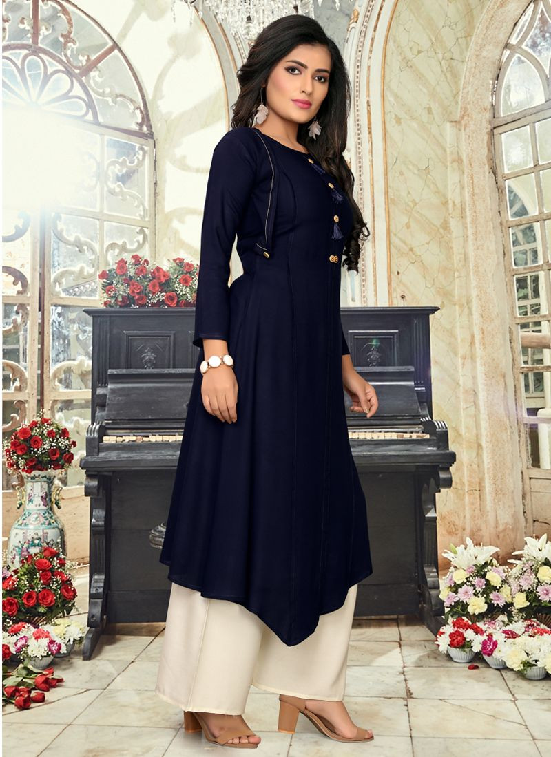 Womens Navy Blue Party Wear Up Down Kurti