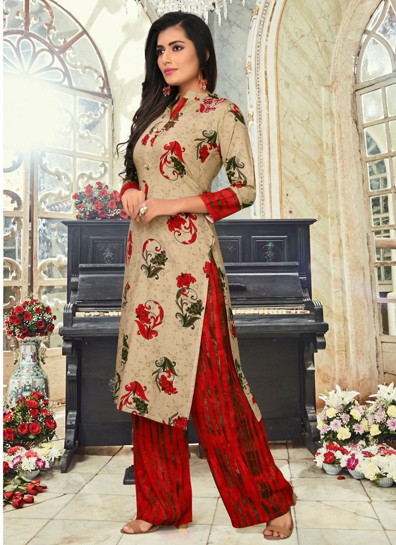 Beige & Red Simple Rayon Long Kurti With Palazzo