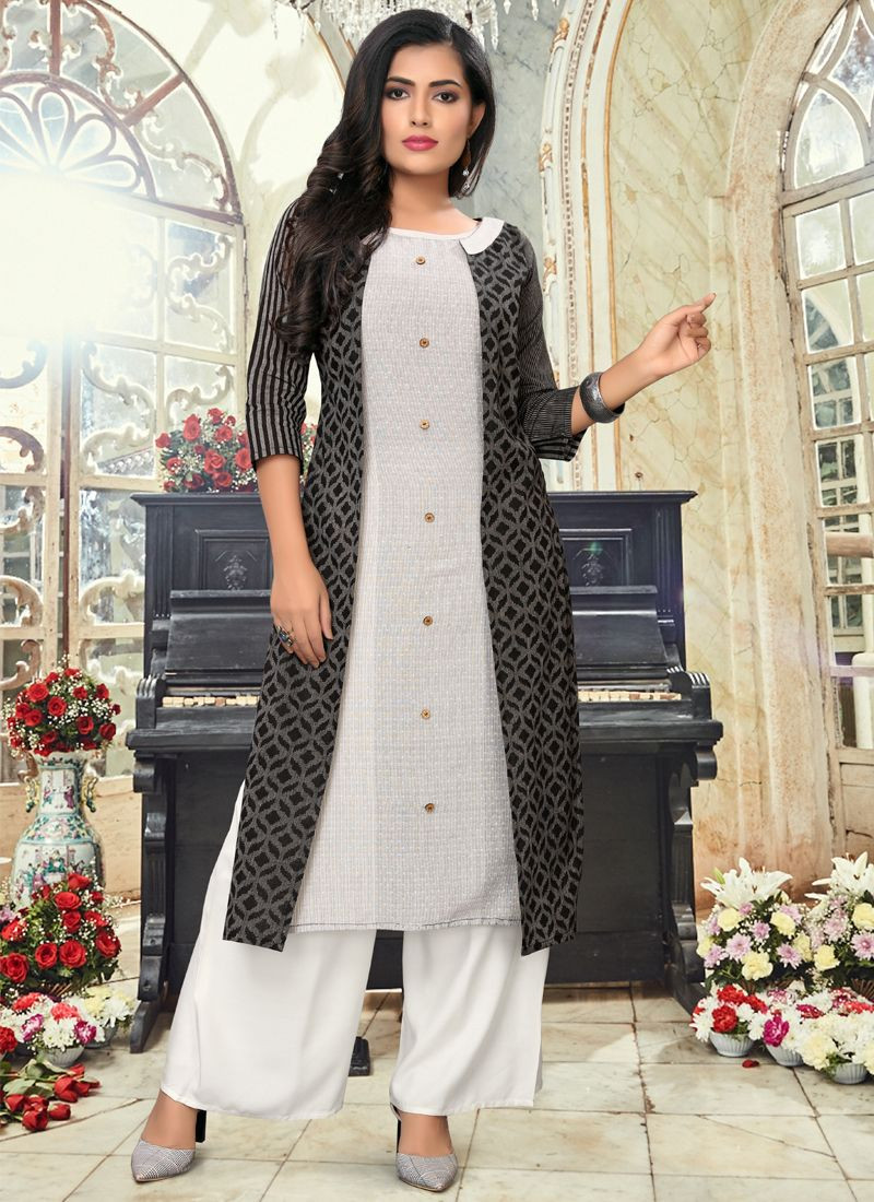 Purchase Simple Indian Girls Daily Wear Grey & Black Straight Long Kurti Online