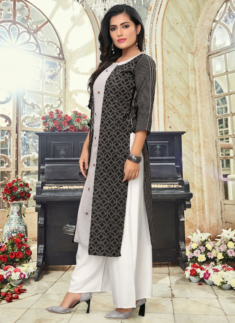 Simple Indian Girls Daily Wear Grey & Black Straight Long Kurti