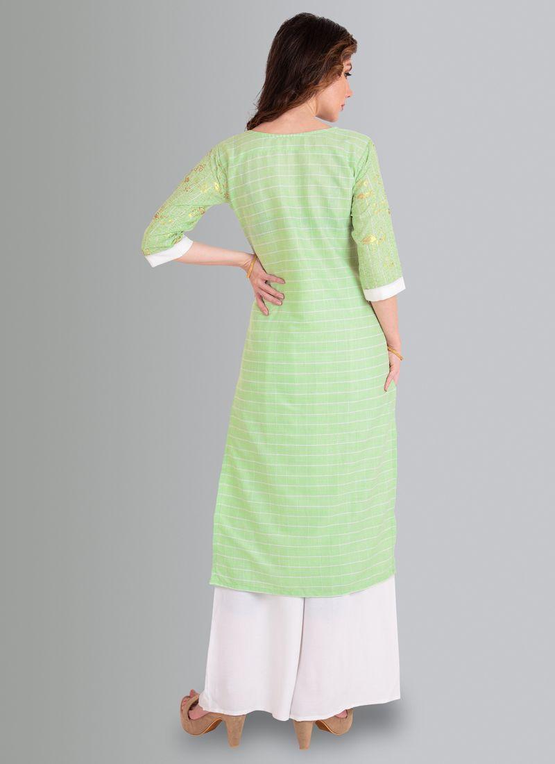 Stylish Light Green Formal Office Wear Cotton Kurti Plazo