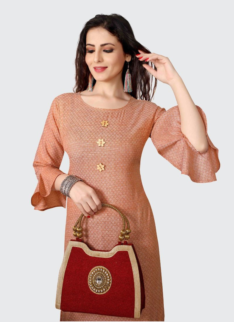 Beautiful Designer Daily Wear Orange Cotton Kurti For Women