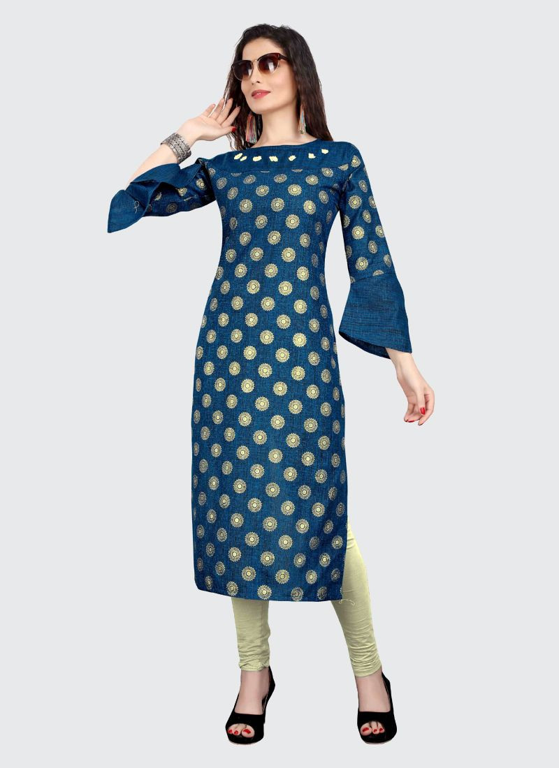 Stylish Indian Girls Party Wear Navy Blue Printed Cotton Kurti