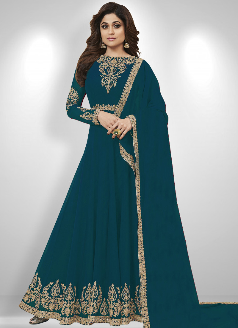 Shamita Shetty Turquoise Bollywood Anarkali Salwar Suit