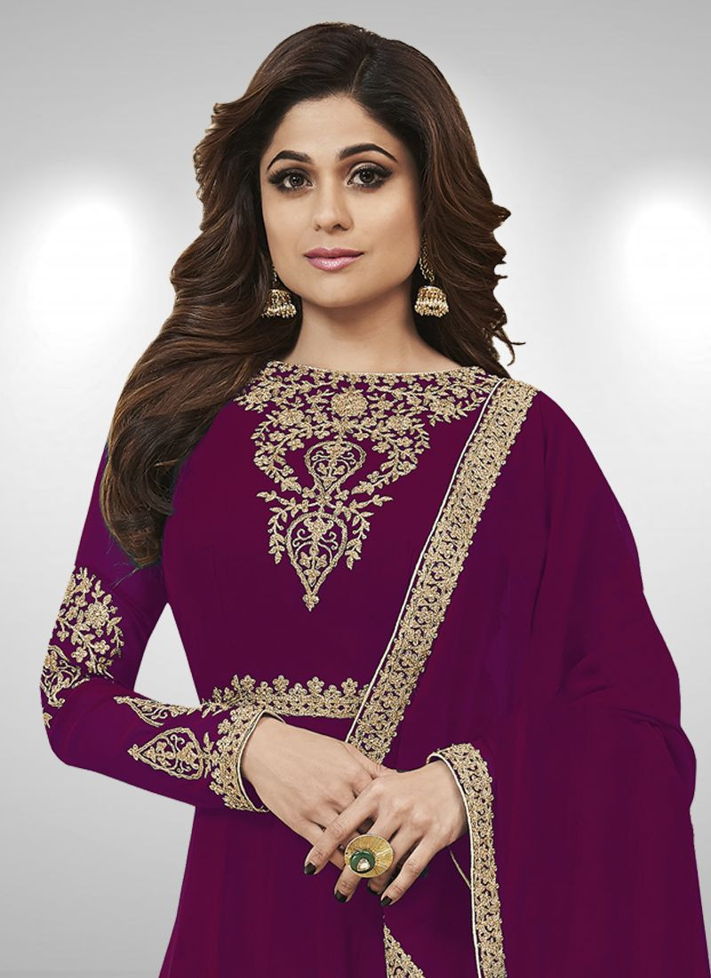 hamita Shetty Bollywood Partywear Purple Frock Suit - Front Neck Design - YOYO Fashion