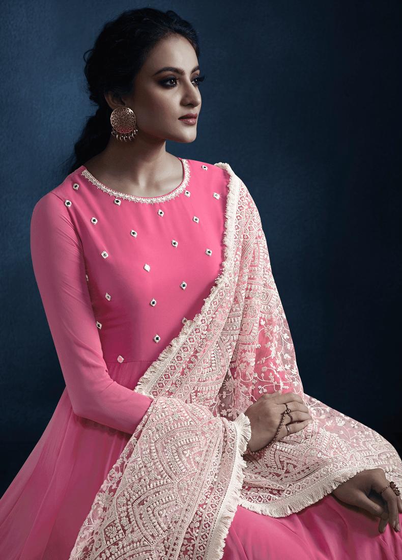 Designer Pink Georgette Party Wear Long Anarkali Gown