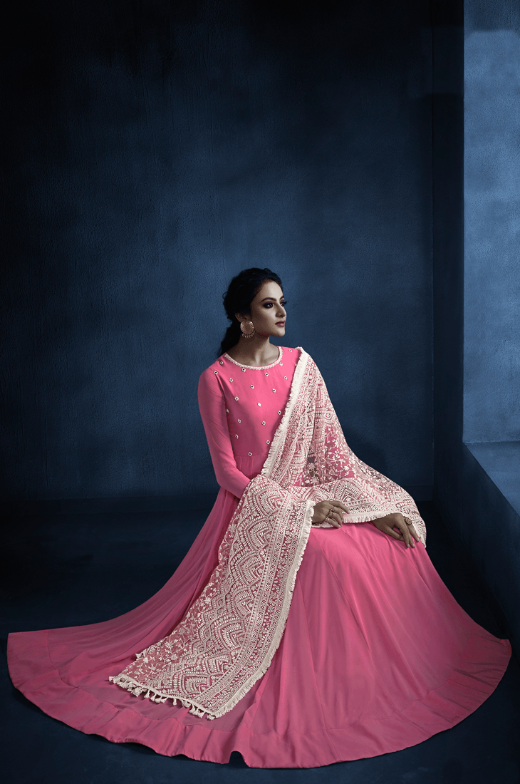 Designer Pink Georgette Party Wear Long Anarkali Gown