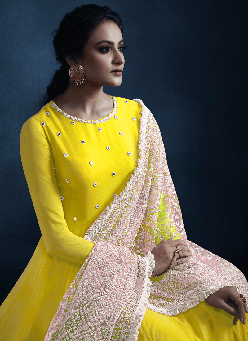 Partywear Yellow Georgette Long Anarkali Dress for Haldi